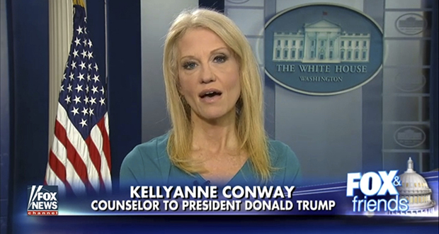 """This frame grab from video provided by Fox News shows White House adviser Kellyanne during an interview with Fox News' """"Fox and Friends"""" on Thursday, Feb. 9. (AP photo)"""