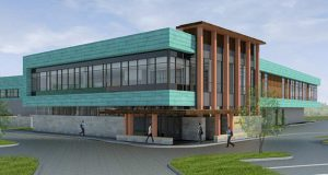 Bloomington officials are set to review designs for this two-story, 28,000-square-foot addition to the Bloomington Civic Plaza at 1800 W. Old Shakopee Road. The new space would house Hennepin County's suburban district court services. (Submitted rendering: Wold)