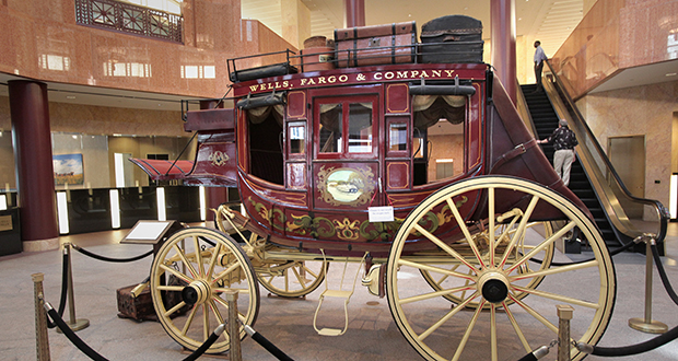In this 2010 photo, an iconic Wells Fargo stagecoach stood in the lobby of the Wells Fargo Center in downtown Minneapolis. (File photo: Bill Klotz)