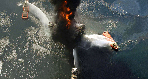 This April 21, 2010, photo shows the Deepwater Horizon oil rig burning after an explosion off the southeast tip of Louisiana in the Gulf of Mexico. (AP file photo)