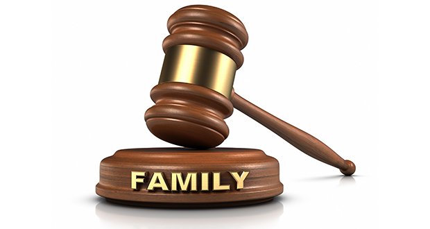 """Family Law Gavel and """"FAMILY"""" word writing on sound block."""