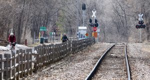 The freight-rail liability cap would have its most immediate effect along the Kenilworth Corridor where light-rail service would operate alongside Twin Cities & Western freight service. (File photo: Bill Klotz)
