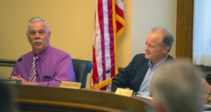 House and Senate conferees began meeting last week to reconcile their twin public safety and judiciary budget bills. Rep. Tony Cornish (left), R-Vernon Center, and Sen. Warren Limmer, R-Maple Grove, attended a committee meeting Friday, April 21. (Staff photo: Kevin Featherly)