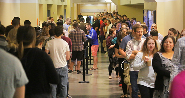 Aspiring lawyers lined up to take the Minnesota bar exam July 26, 2016, at Roy Wilkins Auditorium in downtown St. Paul. The state Supreme Court is being urged to make it easier for experienced out-of-state lawyers to get a Minnesota law license without first passing the exam. (File photo: Bill Klotz)