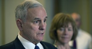 """Gov. Mark Dayton tells reporters about the breakdown in negotiations late Wednesday outside his cabinet room in the state Capitol. """"There was nowhere to go,"""" he said. (Staff photo: Kevin Featherly)"""