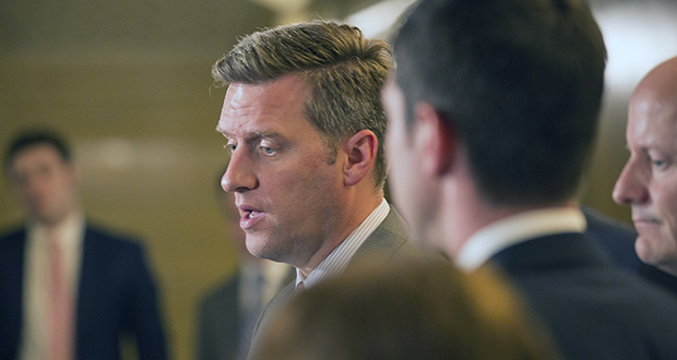 House Speaker Kurt Daudt describes GOP legislative leaders' budgetary counteroffer for reporters Tuesday outside the governor's Capitol Cabinet Room. (Staff photo: Kevin Featherly)
