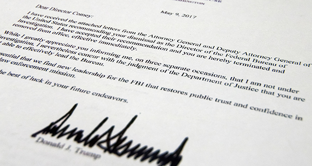 The termination letter from President Donald Trump to FBI Director James Comey is photographed in Washington. (AP photo)