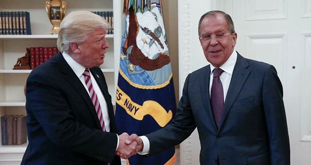 This handout photo released by the Russian Ministry of Foreign Affairs, shows President Donald Trump meeting with Russian Foreign Minister Sergey Lavrov on May 10 in the Oval Office of the White House. (Russian Foreign Ministry via AP)