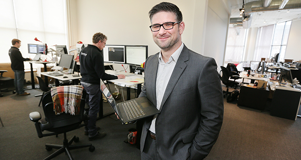 """Dan Erickson, director of business development at Plaudit Design in St. Paul, says the primary goal for a solo attorney's website is to convey competence and value. """"Think of what the goals of the client are, what they need,"""" he says. (Staff photo: Bill Klotz)"""