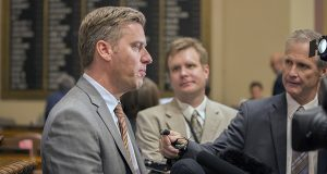 """A weary House Speaker Kurt Daudt speaks with the press on the House floor Wednesday evening, just after adjourning the slow-moving special session to give lawmakers a much-needed rest. """"I think I am ready to be done,"""" the speaker said. (Staff photo: Kevin Featherly)"""