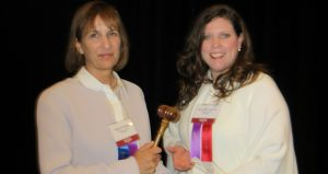 Outgoing State Bar Association President Robin Wolpert and incoming President Sonia Miller-Van Oort.