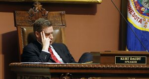 House Speaker Kurt Daudt, shown during floor debate May 12, and other GOP leaders have condemned Gov. Mark Dayton's use of his line-item veto to strip the Legislature of its funding. (AP photo: Jim Mone)