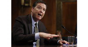 Then-FBI Director James Comey testified May 3 on Capitol Hill in Washington. Comey, ousted last month, is scheduled to testify before Congress on Thursday. (AP file photo)