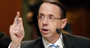 """Deputy U.S. Attorney General Rod Rosenstein issued a press release urging Americans to be skeptical of """"any stories attributed to anonymous 'officials.'"""" (AP photo)"""