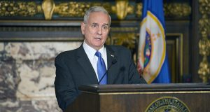 Gov. Mark Dayton speaks to reporters Wednesday before suspending the news conference. (Staff photo: Kevin Featherly)