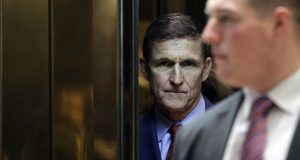 On Dec. 5, 2016, retired Lt. Gen. Michael Flynn, then the White House national security adviser-designate, stood in the elevator at the Trump Tower in New York. (Bloomberg News: Pool photo)