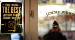 A sign advertises job opportunities at a Jimmy John's sandwich shop in Atlanta. The 8th U.S. Circuit Court of Appeals found Monday that an employee campaign — which sought to highlight potential health hazards to customers — was not protected by the National Labor Relations Act. (AP file photo)