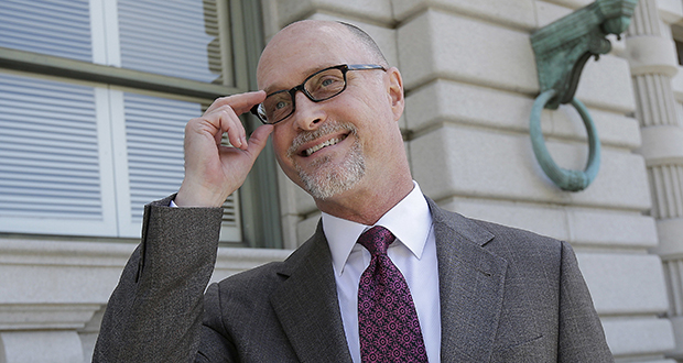 Jeffrey Kerr, general counsel to the People for the Ethical Treatment of Animals, speaks to reporters outside of the 9th U.S. Circuit Court of Appeals in San Francisco on Wednesday, July 12. (AP photo)