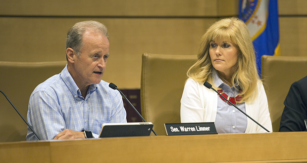 Sen. Warren Limmer, R-Maple Grove (left) speaks to a testifier at an Aug. 8 meeting of the Legislative Commission on Data Practices. Limmer is the panel's new vice chair. Its new chair, Rep. Peggy Scott, R-Andover, looks on. (Staff photo: Kevin Featherly)