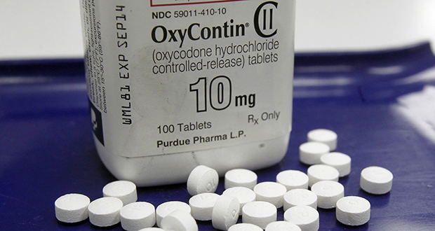 This photo shows OxyContin pills arranged for a photo at a pharmacy in Montpelier, Vermont. (AP file photo)