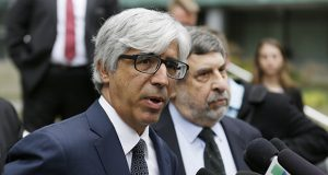 Ted Boutrous, left, and Mark Rosenbaum, attorneys for Daniel Ramirez Medina in a fight against deportation, talk to reporters March 8 at the federal courthouse in Seattle. (AP file photo)