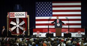 President Donald Trump delivers remarks on tax reform at the Loren Cook Co. on  Wednesday, Aug. 30, in Springfield, Missouri. (AP photo)