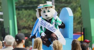 State fair mascot Fairchild waves to the crowd during the fair parade in this 2016 photo. (File photo: Bill Klotz)