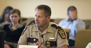 State Patrol Capt. Eric Roeske, director of Capitol Security and Executive Protection, listens to a question Tuesday from a member of the Advisory Committee on Capitol Area Security. (Staff photo: Kevin Featherly)