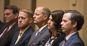 Senate Majority Leader Paul Gazelka, center, and House Majority Leader Joyce Peppin, second from left, attend the Minnesota Supreme Court oral arguments Aug. 28 at the Capitol in St. Paul. (AP file photo: Star Tribune)