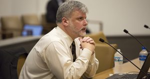FBI intelligence analyst Jon Watson, an expert on al-Shabaab and ISIS recruitment in Minnesota, testifies Tuesday before the Senate Judiciary and Public Safety Finance and Policy Committee. (Staff photo: Kevin Featherly)