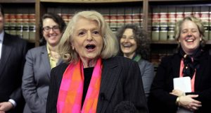 Edith Windsor addresses a news conference Oct. 18, 2012, at the offices of the New York Civil Liberties Union in New York. (AP file photo)