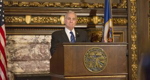 Gov. Mark Dayton said on Oct. 17 that if the Supreme Court does not rule on his legal appeal before the February legislative session, he will stand his ground on five concessions he had demanded in advance of a proposed summertime special session. (Staff photo: Kevin Featherly)