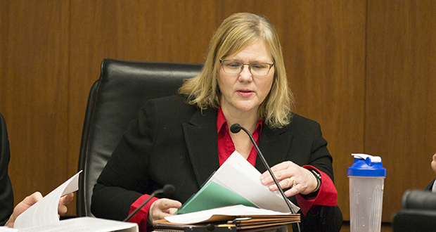 """Rep. Debra Hilstrom said she's resigning from her job as an assistant Anoka County attorney to dedicate herself full-time to campaigning for state attorney general. """"The office is getting busier and busier and the cases that I care about very much are needing to be addressed,"""" she said. (Staff photo: Kevin Featherly)"""