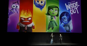 """Pete Docter, left, director and co-writer of the film """"Inside Out,"""" and producer Jonas Rivera introduce a screening of the film at CinemaCon 2015 at Caesars Palace in Las Vegas. (AP file photo: Chris Pizzello, Invision)"""