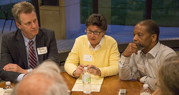 Among those participating in the 2nd Judicial District community listening session Oct. 11 were, from left, John Kelly, first assistant Ramsey County attorney; Judge Teresa Warner; and Judge George T. Stephenson. (Staff photo: Kevin Featherly)