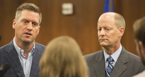 Speaker Kurt Daudt, left, has canceled per diem allowances for House members while the Legislature's budget remains uncertain. Senate Majority Leader Paul Gazelka, right, placed a freeze on new Senate hires in June and has also suspended payments for members' out-of-state travel. (File photo)