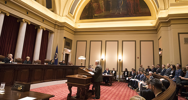 Sam Hanson, the attorney representing Gov. Mark Dayton in the legislative funding dispute, delivers oral arguments Aug. 28 before the Minnesota Supreme Court at the Capitol in St. Paul. (AP photo: Star Tribune)