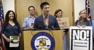 In this June 30 photo, Hawaii Attorney General Douglas Chin speaks at a news conference in Honolulu about President Donald Donald Trump's travel ban. (AP file photo)
