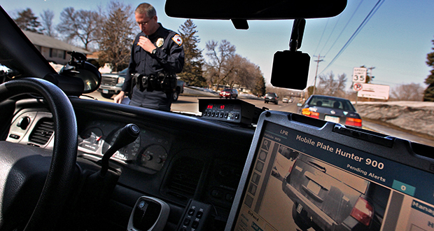 Information-access crusader Tony Webster says the Duluth Police Department sent him license-plate-reader data without redacting individual license numbers, which are considered personally identifiable data. This photo shows a license plate reader in use by Maplewood police in 2011. (AP file photo: Star Tribune)