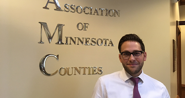 Matt Hilgart joined the Association of Minnesota Counties in 2014 after 2½ years in communications in U.S. Rep. Betty McCollum's office, 27 months in Jordan with the Peace Corps and a lobbyist internship with the city of Minneapolis. (Photo: Todd Nelson)