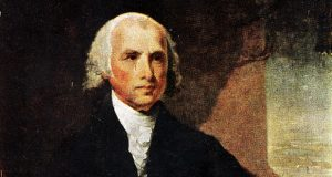 """It was James Madison, the lead architect of the U.S. Constitution, who spoke out against a more general proposal for impeachment, which would have made the president removable for """"maladministration."""" This is an undated photo of a portrait of Madison by artist Gilbert Stuart. (AP file photo)"""
