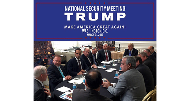 In this photo posted March 31, 2016, on President Donald Trump's Twitter account, George Papadopoulos, third from left, sits at a table with then-candidate Trump and others at what is labeled at a national security meeting in Washington.  (AP photo)