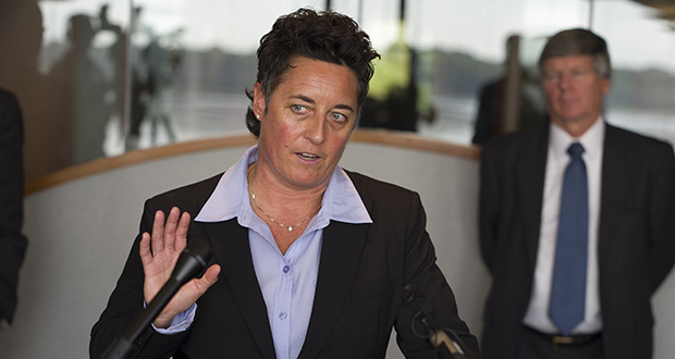 At the law offices of Fafinski Mark & Johnson in Eden Prairie, Minn., former University of Minnesota Duluth women's hockey coach Shannon Miller speaks about the discrimination lawsuit she and two other female coaches have filed against the school Monday, Sept. 28, 2015. (Richard Tsong-Taatarii/Star Tribune via AP)  MANDATORY CREDIT; ST. PAUL PIONEER PRESS OUT; MAGS OUT; TWIN CITIES LOCAL TELEVISION OUT