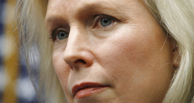 Sen. Kirsten Gillibrand, D-N.Y., listens during a news conference on sexual harassment, Wednesday, Dec. 6, 2017, on Capitol Hill in Washington. Sen. Al Franken's support among his fellow Democrats is cratering as a host of female Democratic senators Wednesday called upon him to resign. (AP Photo/Jacquelyn Martin)