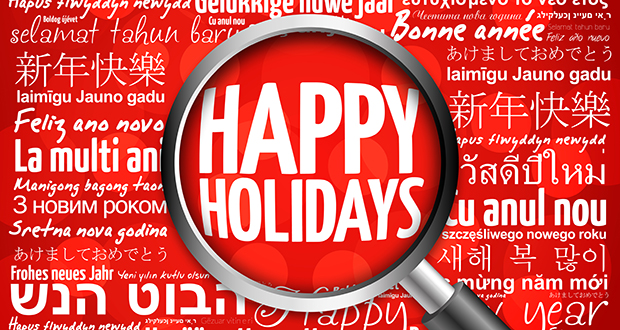Happy Holidays, Happy New Year in different languages