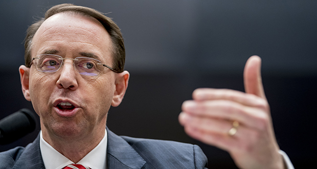 Deputy Attorney General Rod Rosenstein speaks before a House Committee on the Judiciary oversight hearing Wednesday on Capitol Hill in Washington. (AP photo)