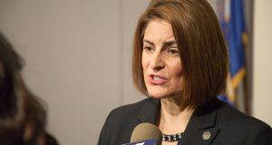 """Rep. Marion O'Neill, R-Maple Grove, speaks Dec. 11 as she and Rep. John Lesch, DFL-St. Paul, unveil a plan related to the reporting and disposition of sexual harassment complaints. """"This is an incredibly important thing to move forward,"""" O'Neill said. (Staff photo: Kevin Featherly)"""