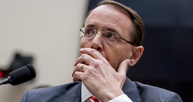 """Deputy Attorney General Rod Rosenstein pauses while testifying Wednesday before a House Committee on the Judiciary oversight hearing on Capitol Hill in Washington. Rosenstein said, """"We recognize we have employees with political opinions. It's our responsibility to make sure those opinions do not influence their actions."""" (AP photo)"""
