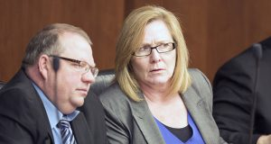Sen./Lt. Gov. Michelle Fischbach, R-Paynesville (right), sits Wednesday as co-chair of the Legislative Task Force on Child Protection. On Jan. 3, she declined to fulfill her statutory lieutenant governor role as chair of a Capitol security advisory committee. (Staff photo: Kevin Featherly)