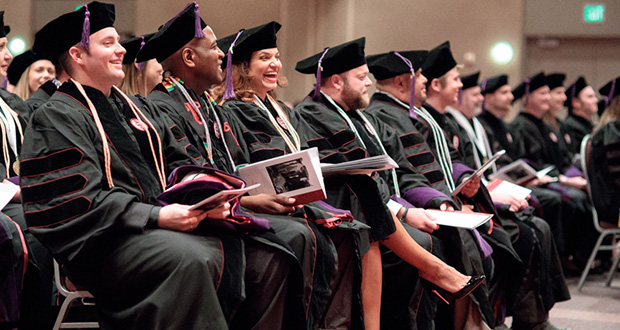Among the 16 graduates in the Mitchell Hamline hybrid program were, from left, Courtland Martens, Vershawn Young, Yesenia Rivera, Rory Lamberton and Yoel Damas.  (Submitted photo)